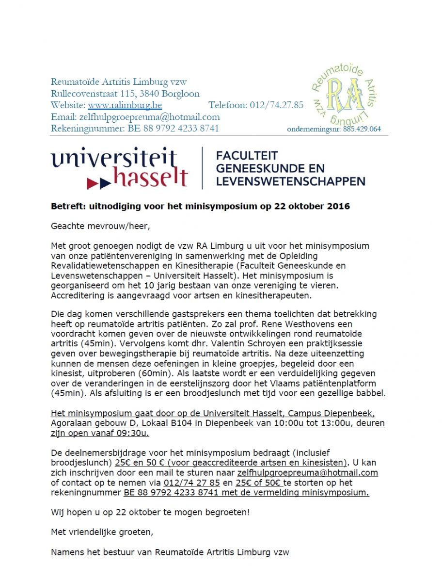Uitnodiging minisymposium Limburg