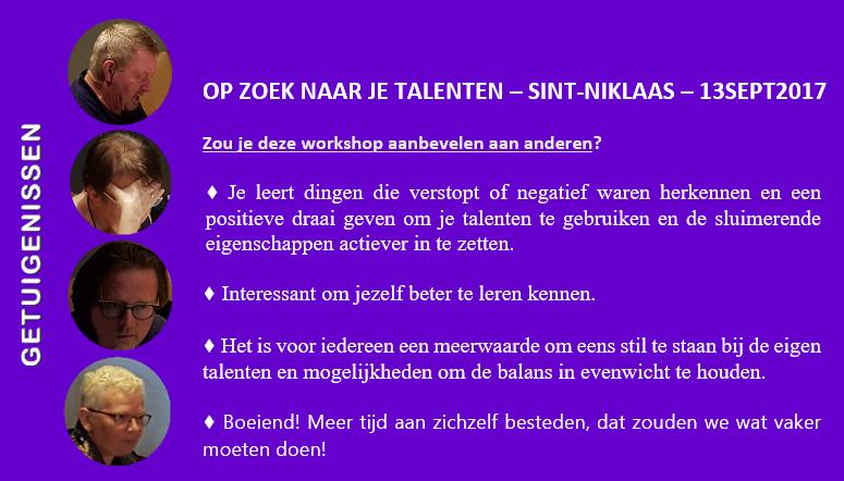 Evaluatie workshop OP ZOEK NAAR JE TALENTEN | Sint-Niklaas